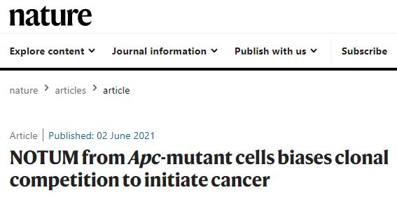 【Nature】连发3篇重磅文章:肠道中的癌症干细胞对邻近细胞产生不良影响