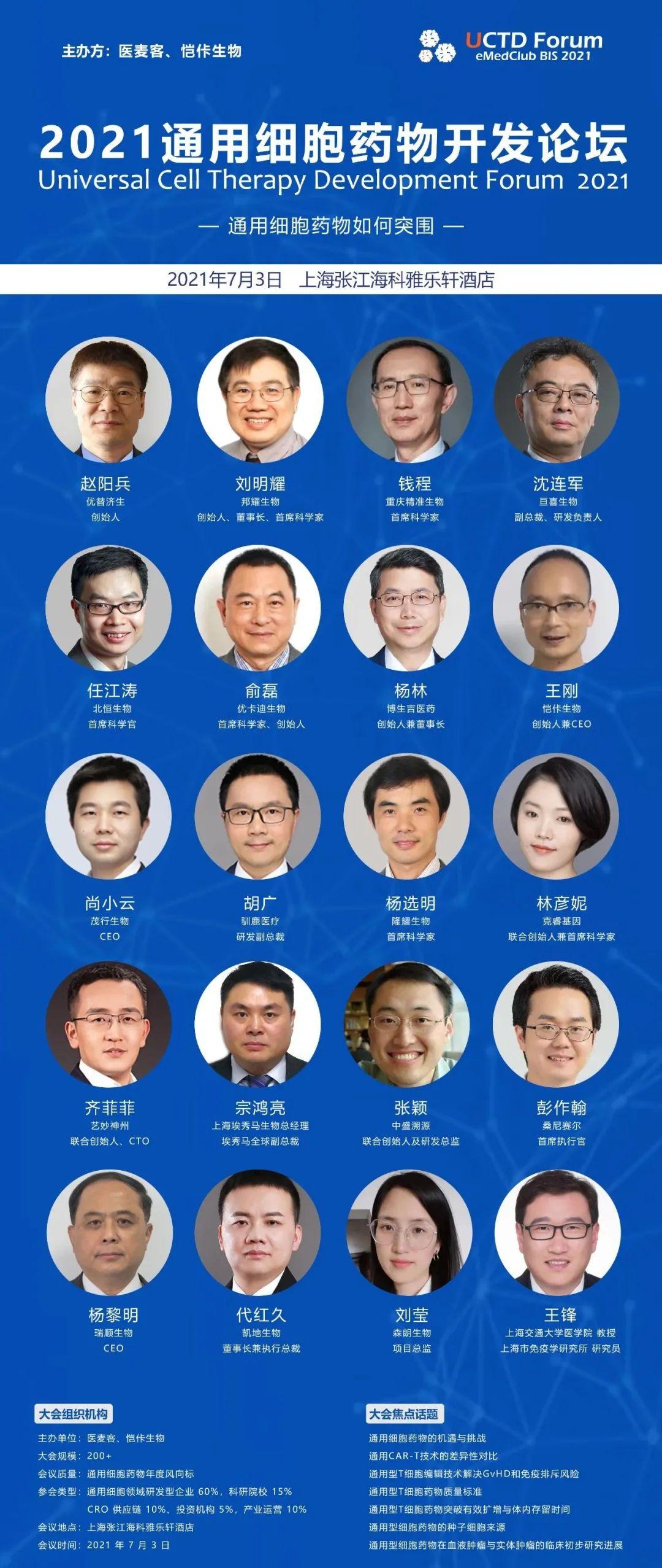 【论坛】上海·张江丨通用型细胞药物开发论坛即将7月开幕